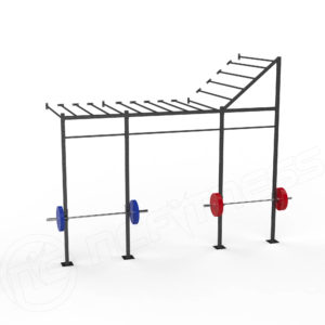X-Series WM14-M-ER Wall Mount Monkey Bar Rack With End Rise
