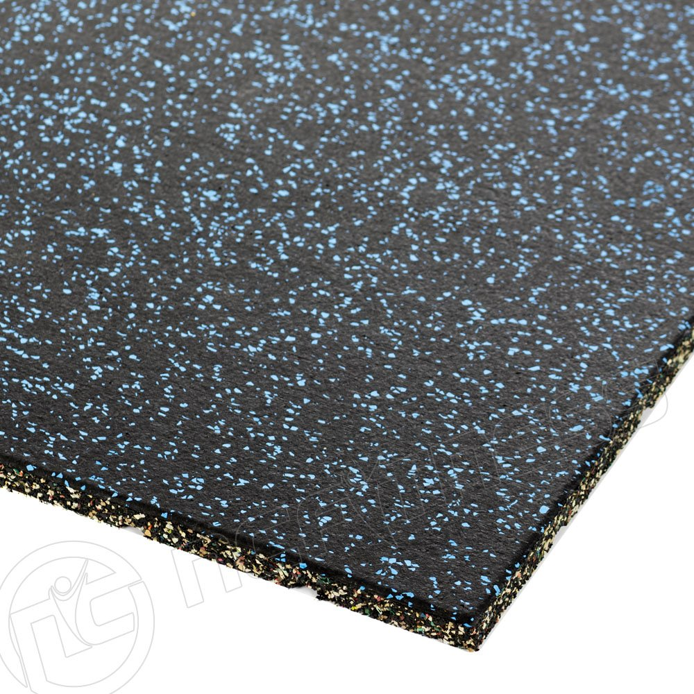 Premium Rubber Gym Mat - Blue Fleck 1m x 1m x 20mm