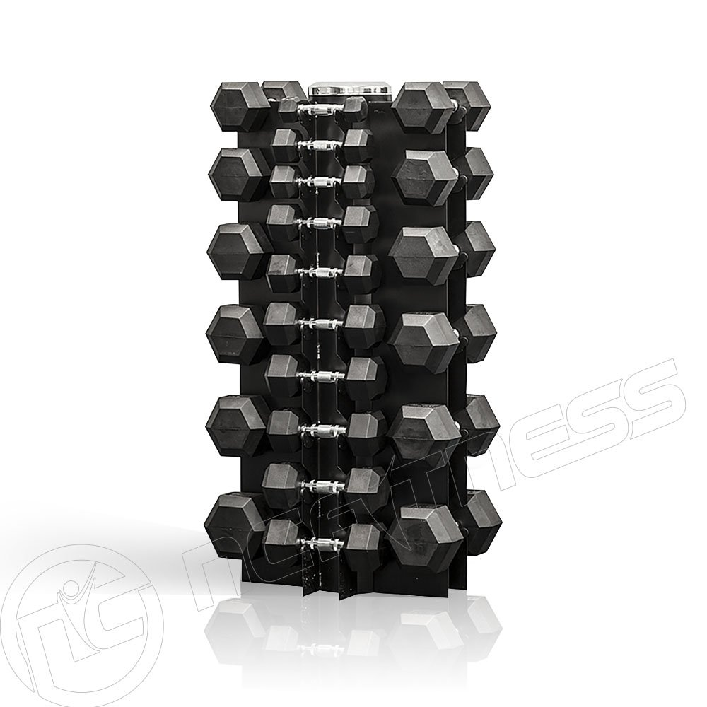 Rubber Hex Dumbbell 1-25Kg Set Including Stand