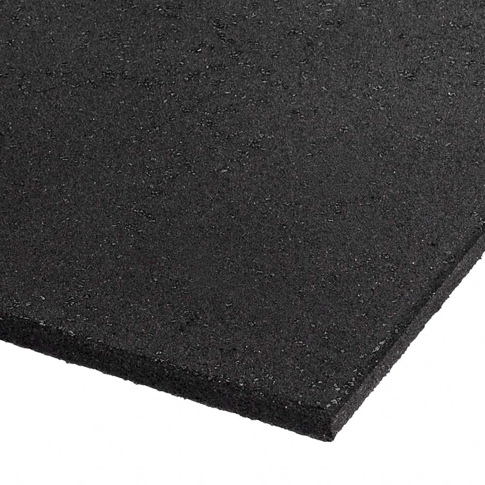 Commercial Rubber Gym Mat - Black 1m x 1m x 15mm